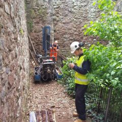 Oakford Archaeology monitored a geotechnical borehole survey in July 2016 for Exeter City Council, at Rougemont Gardens, Exeter, Devon.