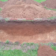 Archaeological trench evaluation showing section on land behind Liney Road, Westonzoyland, Somerset.