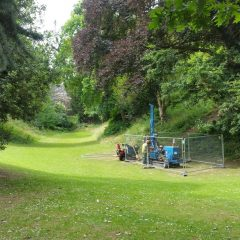 Monitoring a geotechnical borehole survey in July 2016, at Rougemont Gardens, Exeter, Devon.