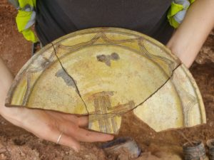 North Devon sgraffito dish, Excavations at Halswell House, Somerset