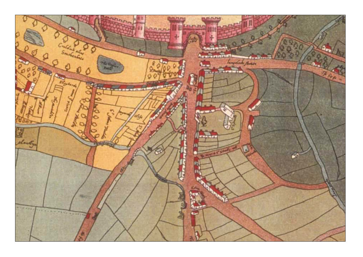Map of St Sidwell's, Exeter c.1590