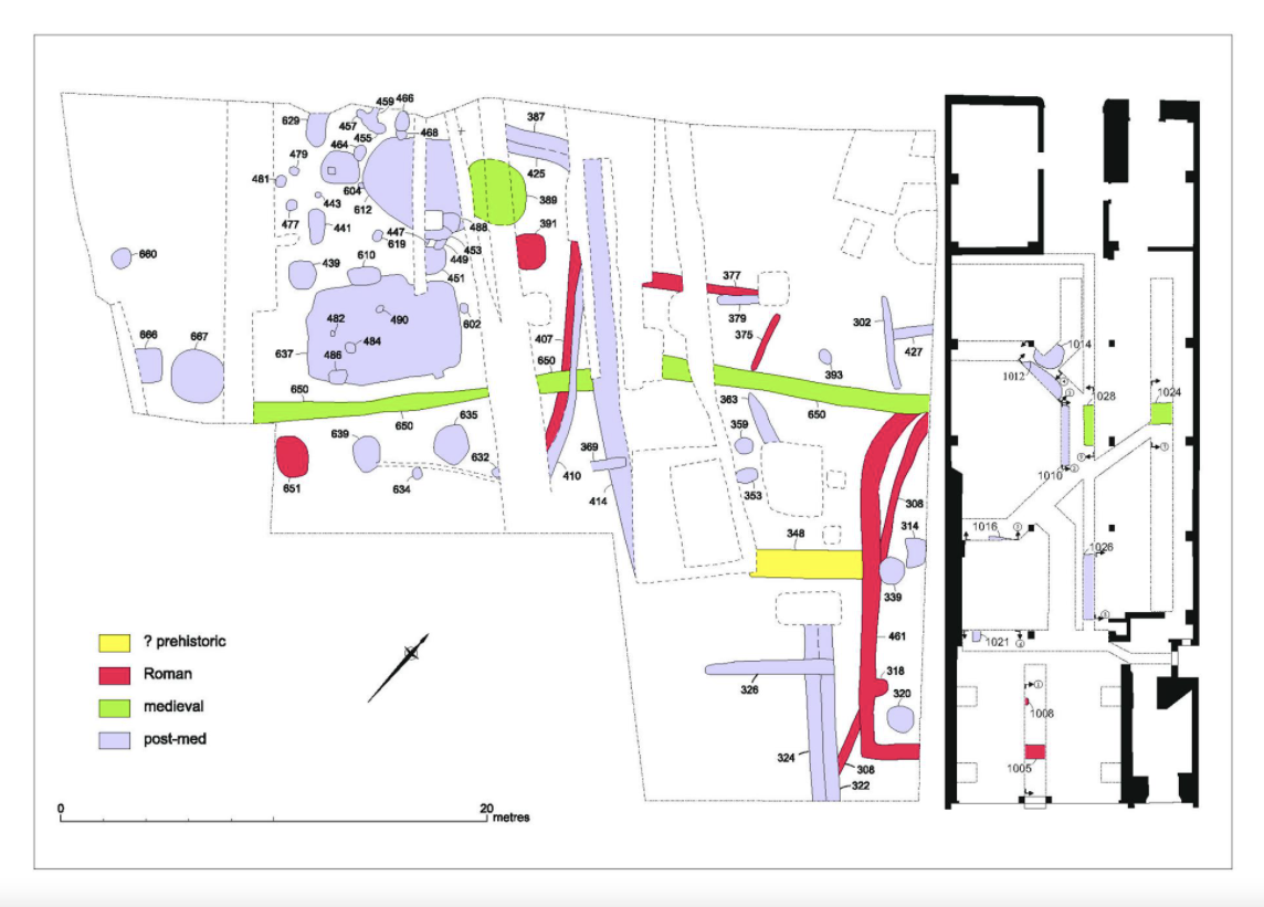 Verney Street, open-area excavation plan by Exeter Archaeology and internal works by Oakford Archaeology