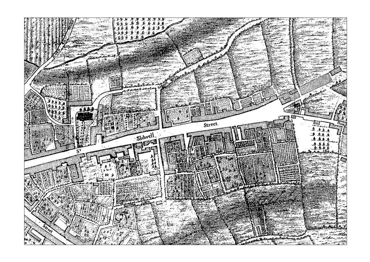 1744 John Rocque Map of Sidwell Street
