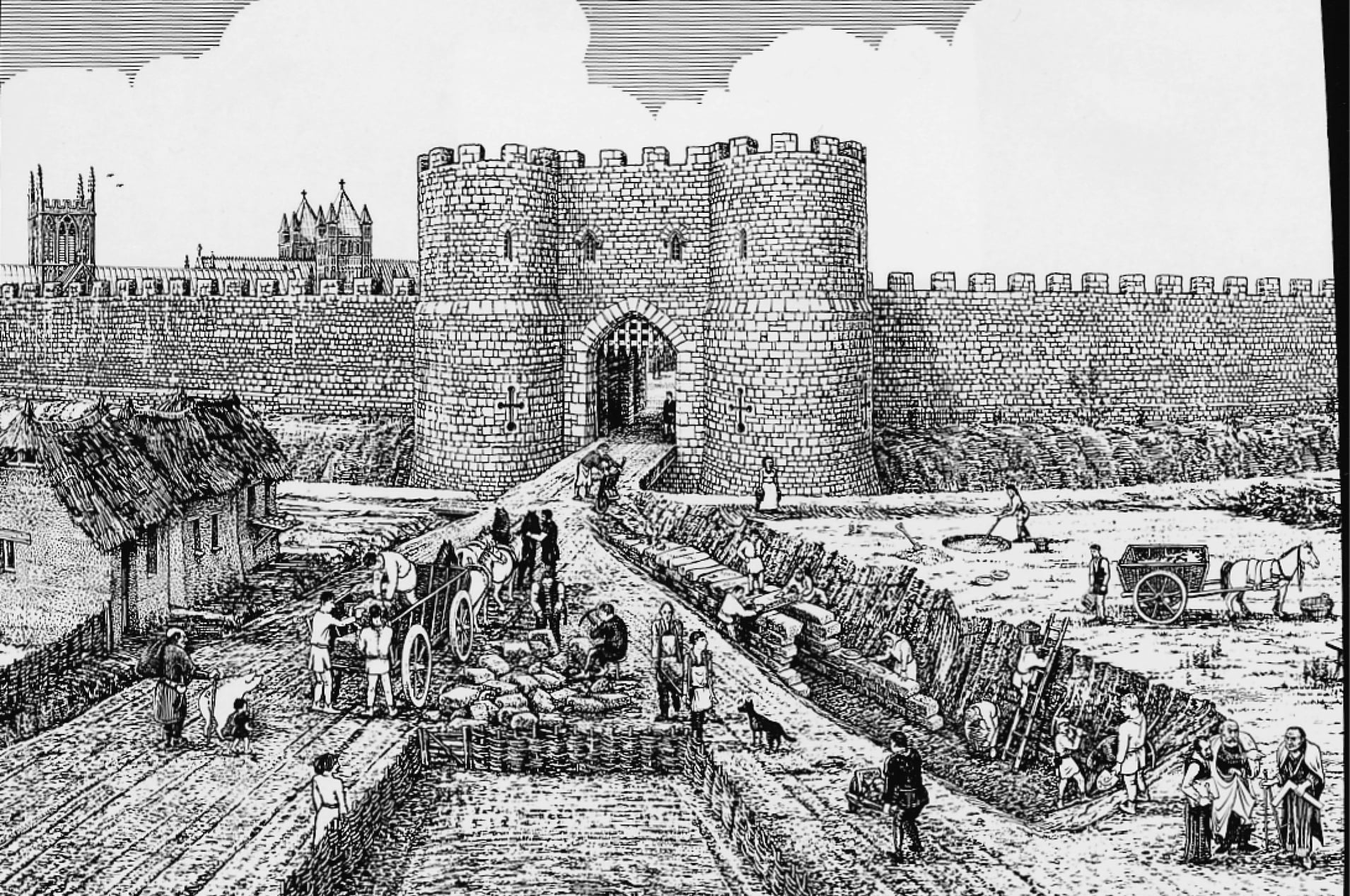 Reconstruction drawing by Exeter Archaeology - building of the city passage outside the East Gate ,1490s
